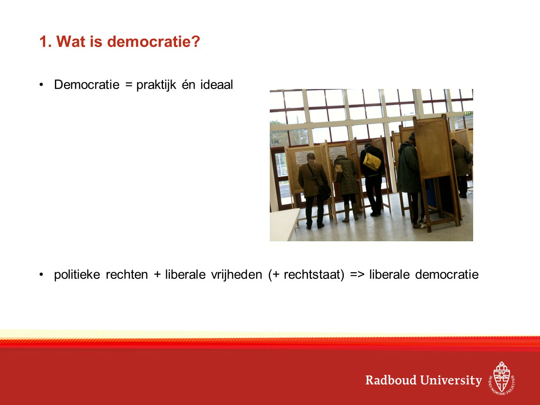 1. Wat is democratie? Democratie = praktijk én ideaal politieke rechten + liberale vrijheden (+ rechtstaat) => liberale democratie