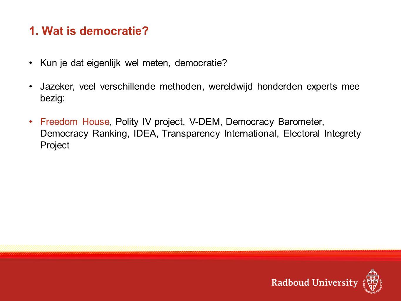 1. Wat is democratie? Kun je dat eigenlijk wel meten, democratie? Jazeker, veel verschillende methoden, wereldwijd honderden experts mee bezig: Freedo