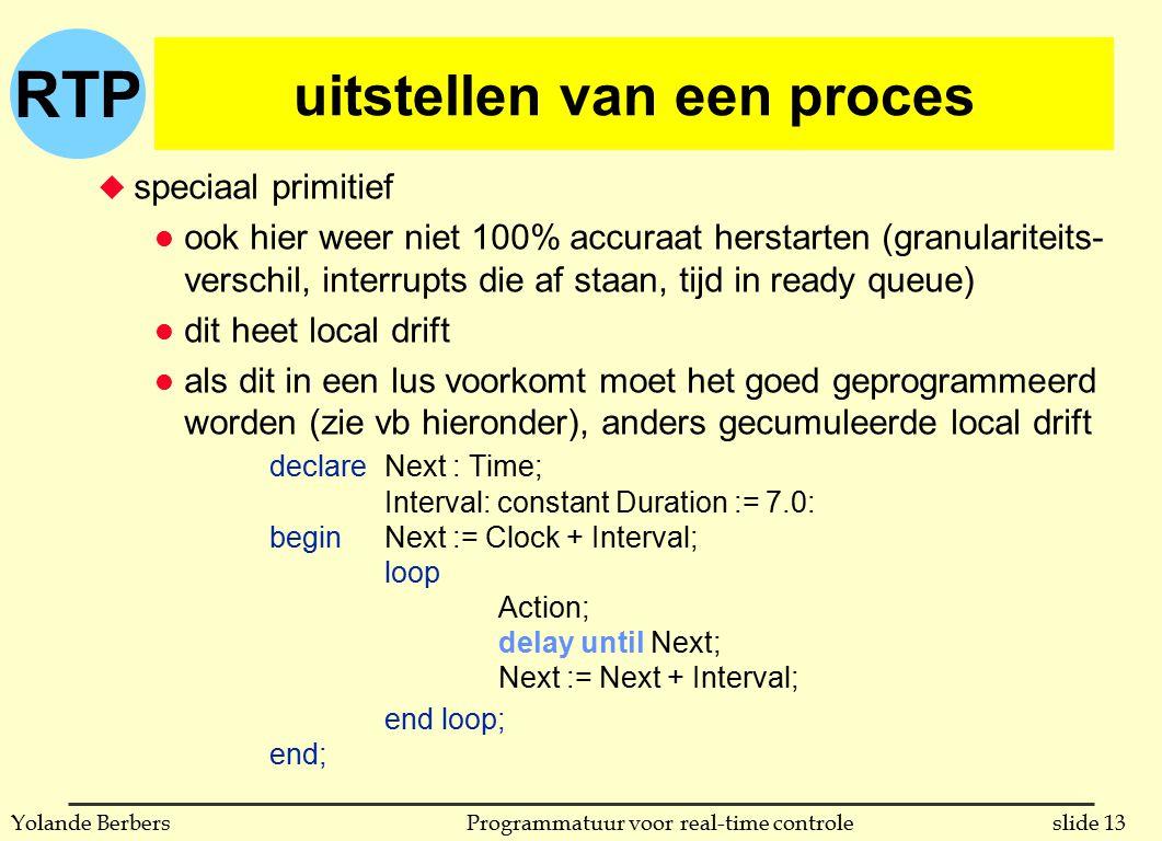 RTP slide 13Programmatuur voor real-time controleYolande Berbers uitstellen van een proces u speciaal primitief l ook hier weer niet 100% accuraat her