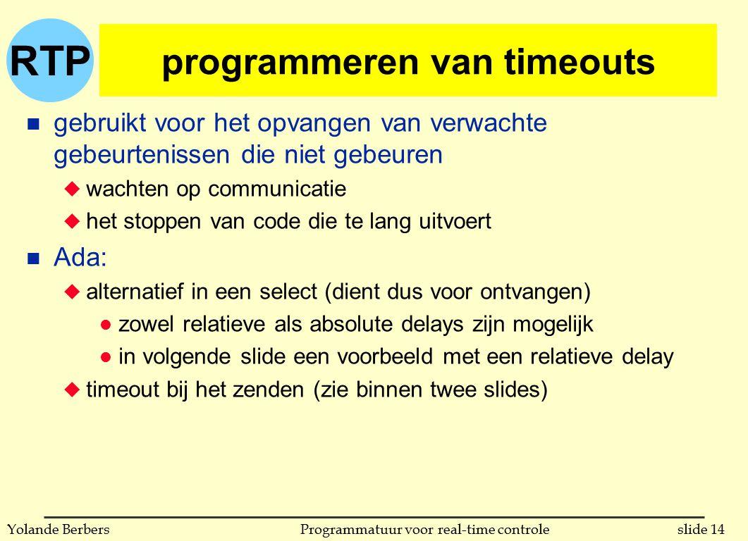 RTP slide 14Programmatuur voor real-time controleYolande Berbers programmeren van timeouts n gebruikt voor het opvangen van verwachte gebeurtenissen d