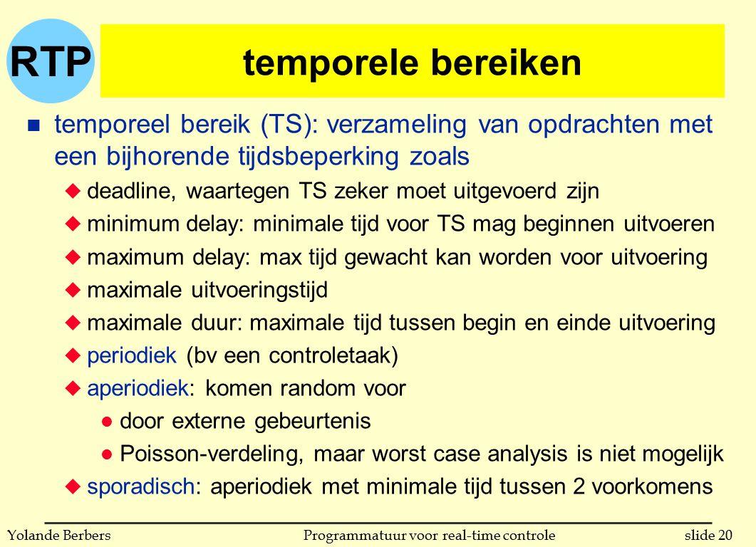 RTP slide 20Programmatuur voor real-time controleYolande Berbers temporele bereiken n temporeel bereik (TS): verzameling van opdrachten met een bijhor