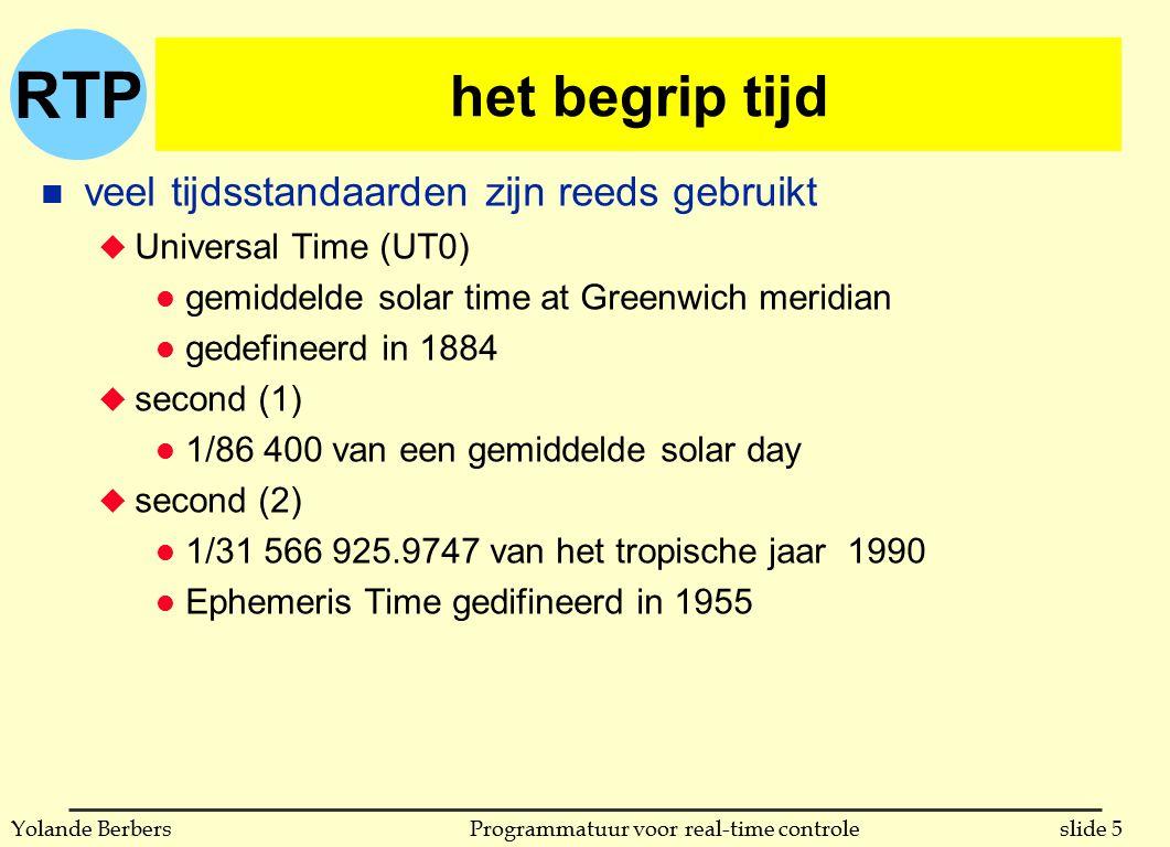 RTP slide 6Programmatuur voor real-time controleYolande Berbers het begrip tijd n veel tijdsstandaarden zijn reeds gebruikt u UT1 l correctie van UT0 vanwege polar motion u UT2 l correctie van UT1 vanwege variatie in de snelheid van rotatie van de aarde