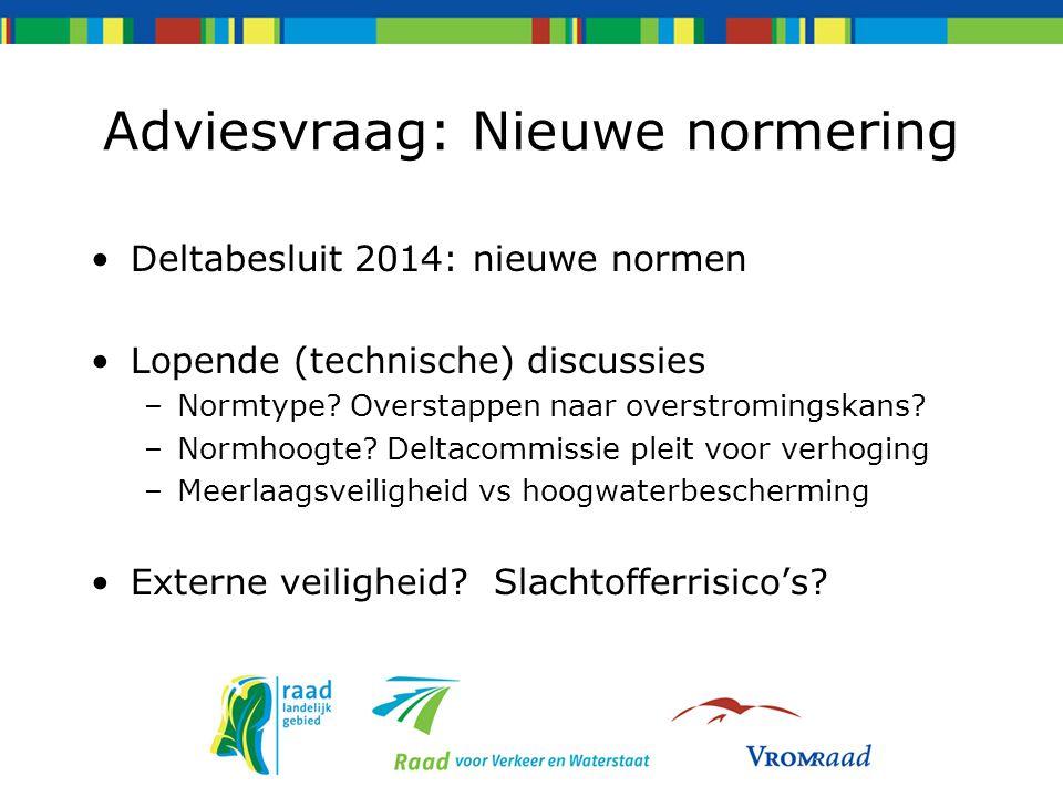 Adviesvraag: Nieuwe normering Deltabesluit 2014: nieuwe normen Lopende (technische) discussies –Normtype? Overstappen naar overstromingskans? –Normhoo