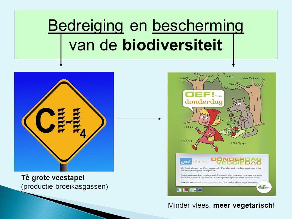 Tè grote veestapel (productie broeikasgassen) Minder vlees, meer vegetarisch! Bedreiging en bescherming van de biodiversiteit