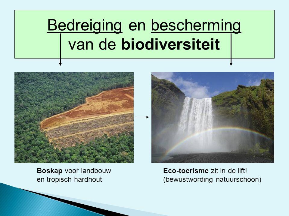 Boskap voor landbouw en tropisch hardhout Eco-toerisme zit in de lift! (bewustwording natuurschoon) Bedreiging en bescherming van de biodiversiteit