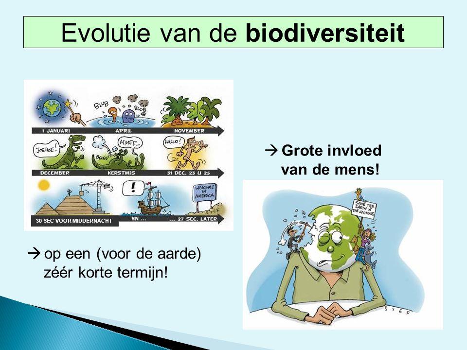  Grote invloed van de mens! 30 SEC VOOR MIDDERNACHT  op een (voor de aarde) zéér korte termijn! Evolutie van de biodiversiteit