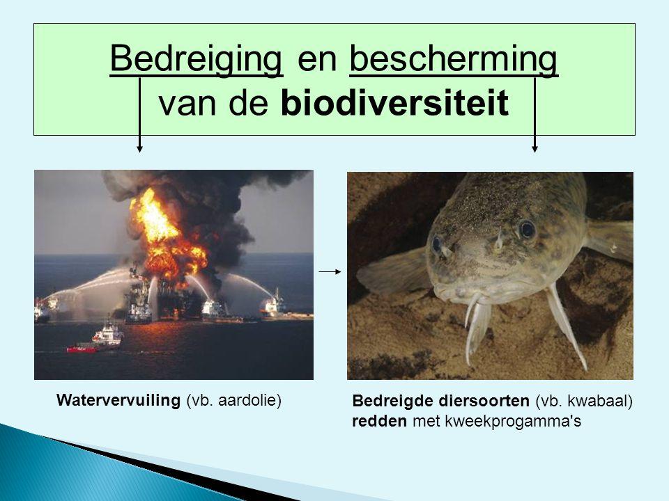 Watervervuiling (vb. aardolie) Bedreigde diersoorten (vb. kwabaal) redden met kweekprogamma's Bedreiging en bescherming van de biodiversiteit