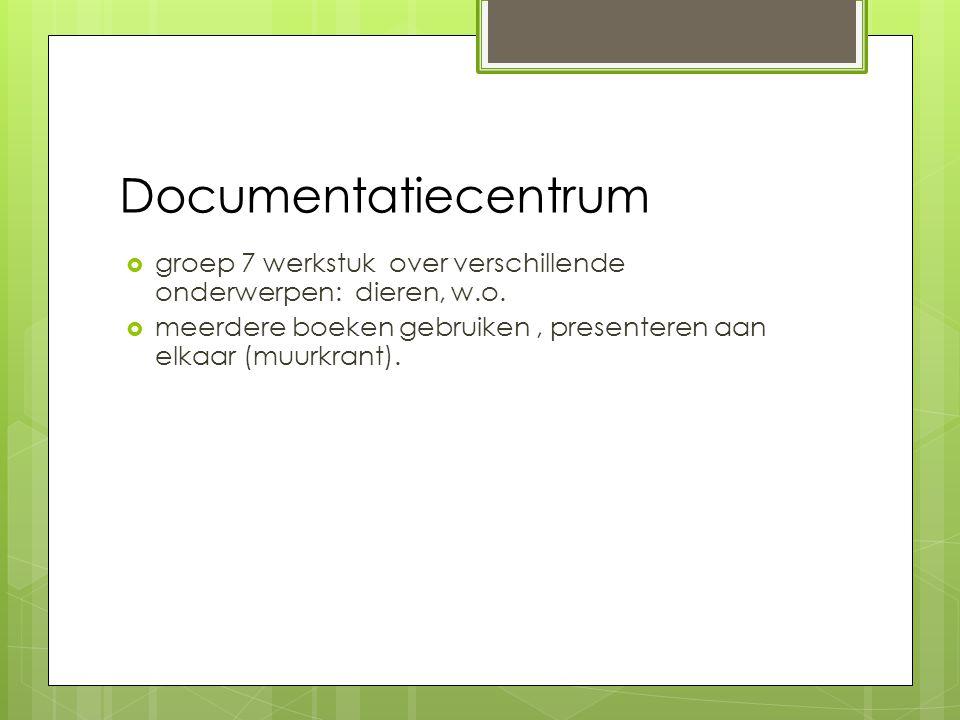 Documentatiecentrum  groep 7 werkstuk over verschillende onderwerpen: dieren, w.o.  meerdere boeken gebruiken, presenteren aan elkaar (muurkrant).