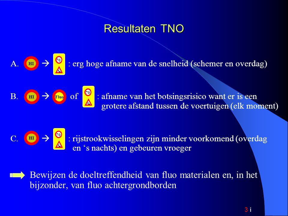 3 i Resultaten TNO A.  : erg hoge afname van de snelheid (schemer en overdag) B.