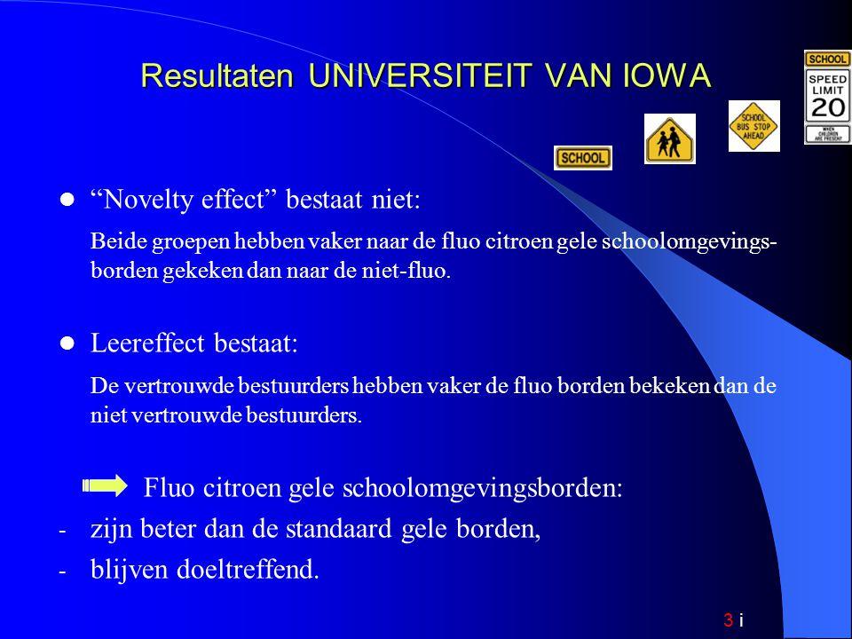 3 i Resultaten UNIVERSITEIT VAN IOWA Novelty effect bestaat niet: Beide groepen hebben vaker naar de fluo citroen gele schoolomgevings- borden gekeken dan naar de niet-fluo.