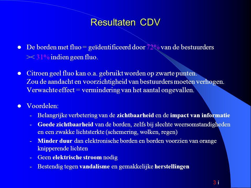 3 i Resultaten CDV De borden met fluo = geïdentificeerd door 72% van de bestuurders >< 31% indien geen fluo.
