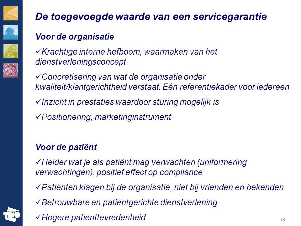 16 De toegevoegde waarde van een servicegarantie Voor de organisatie Krachtige interne hefboom, waarmaken van het dienstverleningsconcept Concretiseri