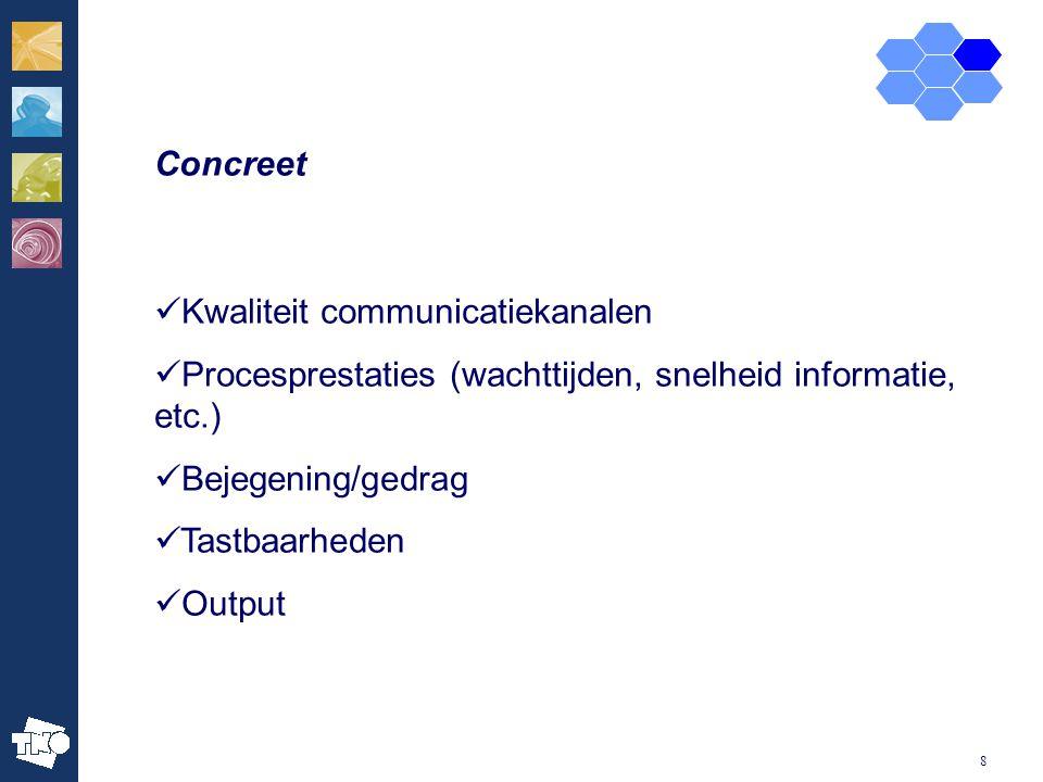 8 Concreet Kwaliteit communicatiekanalen Procesprestaties (wachttijden, snelheid informatie, etc.) Bejegening/gedrag Tastbaarheden Output
