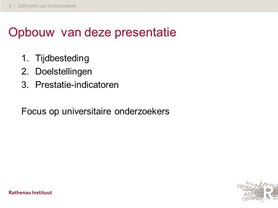 4 | Drijfveren van onderzoekers Opbouw van deze presentatie 1.Tijdbesteding 2.Doelstellingen 3.Prestatie-indicatoren Focus op universitaire onderzoeke