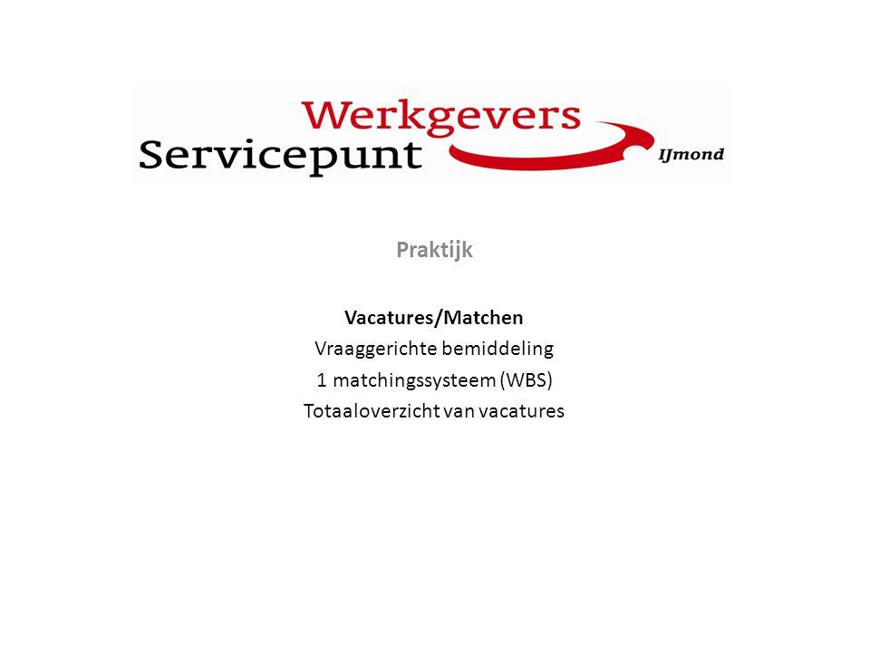 P Praktijk Vacatures/Matchen Vraaggerichte bemiddeling 1 matchingssysteem (WBS) Totaaloverzicht van vacatures