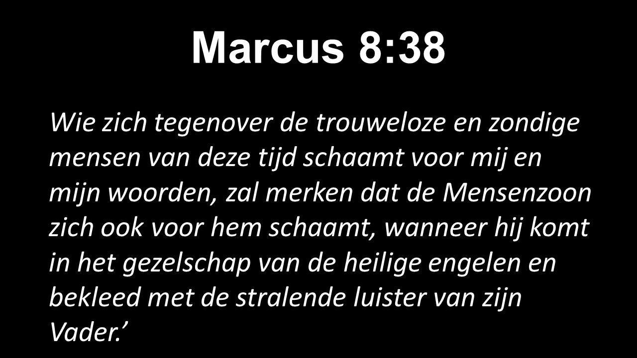 Marcus 8:38 Wie zich tegenover de trouweloze en zondige mensen van deze tijd schaamt voor mij en mijn woorden, zal merken dat de Mensenzoon zich ook voor hem schaamt, wanneer hij komt in het gezelschap van de heilige engelen en bekleed met de stralende luister van zijn Vader.'
