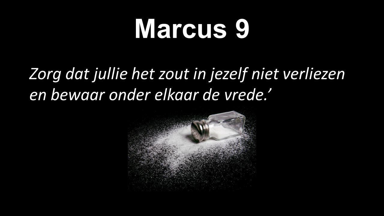Marcus 9 Zorg dat jullie het zout in jezelf niet verliezen en bewaar onder elkaar de vrede.'
