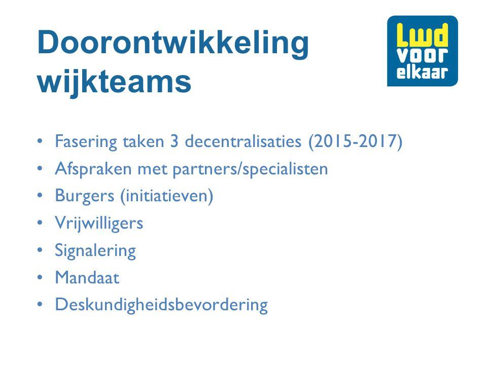 Doorontwikkeling wijkteams Fasering taken 3 decentralisaties (2015-2017) Afspraken met partners/specialisten Burgers (initiatieven) Vrijwilligers Sign