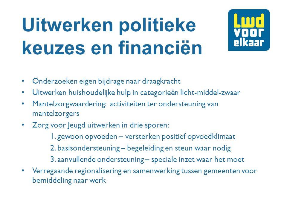Uitwerken politieke keuzes en financiën Onderzoeken eigen bijdrage naar draagkracht Uitwerken huishoudelijke hulp in categorieën licht-middel-zwaar Ma