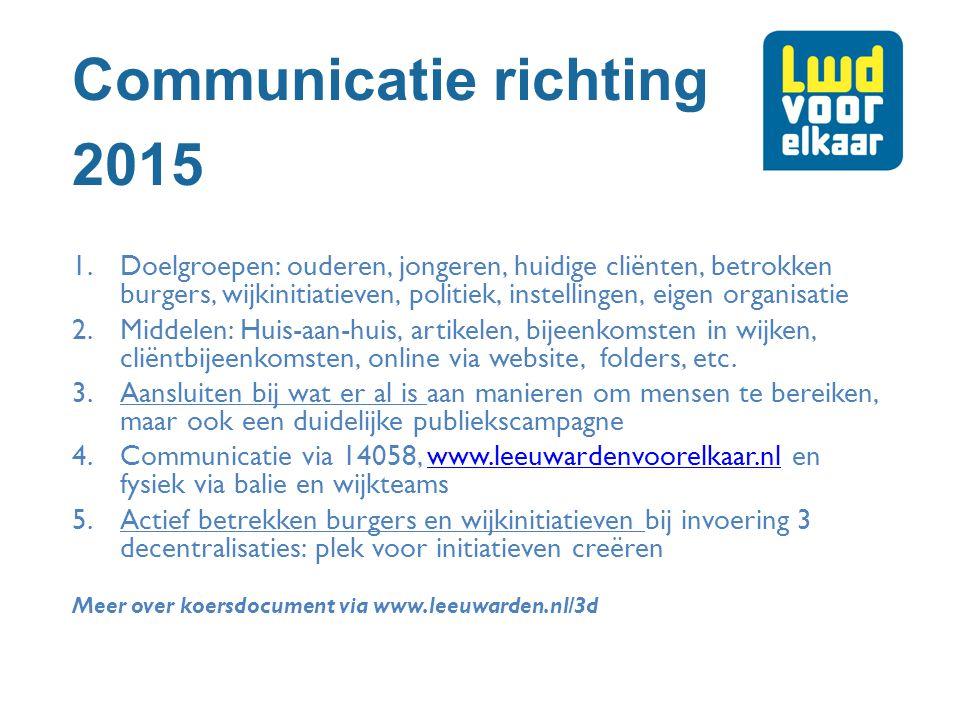 Communicatie richting 2015 1.Doelgroepen: ouderen, jongeren, huidige cliënten, betrokken burgers, wijkinitiatieven, politiek, instellingen, eigen orga