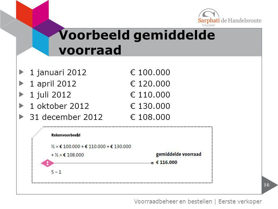 1 januari 2012€ 100.000 1 april 2012€ 120.000 1 juli 2012€ 110.000 1 oktober 2012€ 130.000 31 december 2012€ 108.000 16 Voorbeeld gemiddelde voorraad