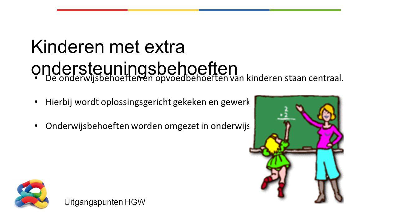 Uitgangspunten HGW Kinderen met extra ondersteuningsbehoeften De onderwijsbehoeften en opvoedbehoeften van kinderen staan centraal. Hierbij wordt oplo
