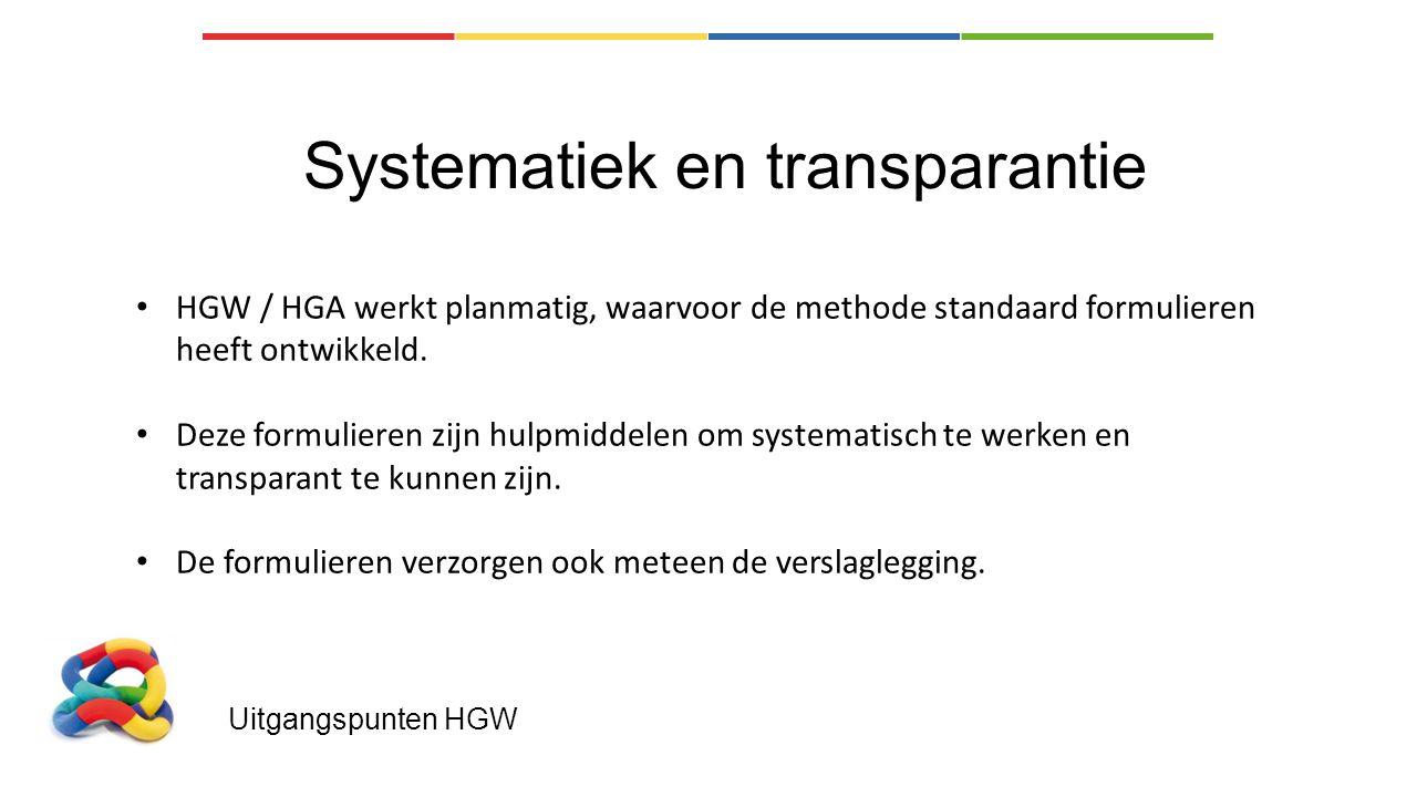 Uitgangspunten HGW Systematiek en transparantie HGW / HGA werkt planmatig, waarvoor de methode standaard formulieren heeft ontwikkeld.