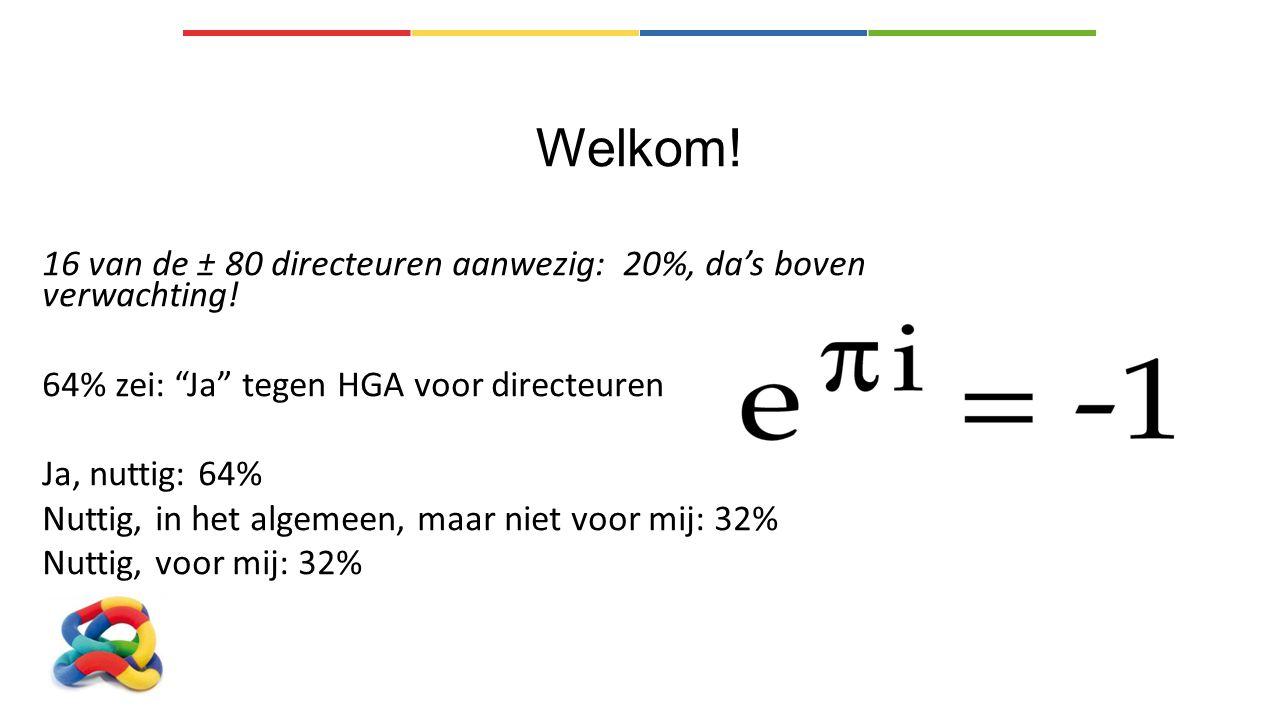 """Welkom! 16 van de ± 80 directeuren aanwezig: 20%, da's boven verwachting! 64% zei: """"Ja"""" tegen HGA voor directeuren Ja, nuttig: 64% Nuttig, in het alge"""