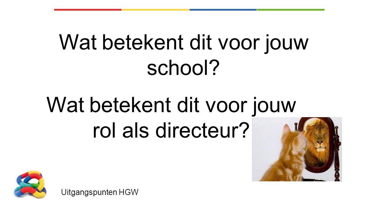 Uitgangspunten HGW Wat betekent dit voor jouw school? Wat betekent dit voor jouw rol als directeur?