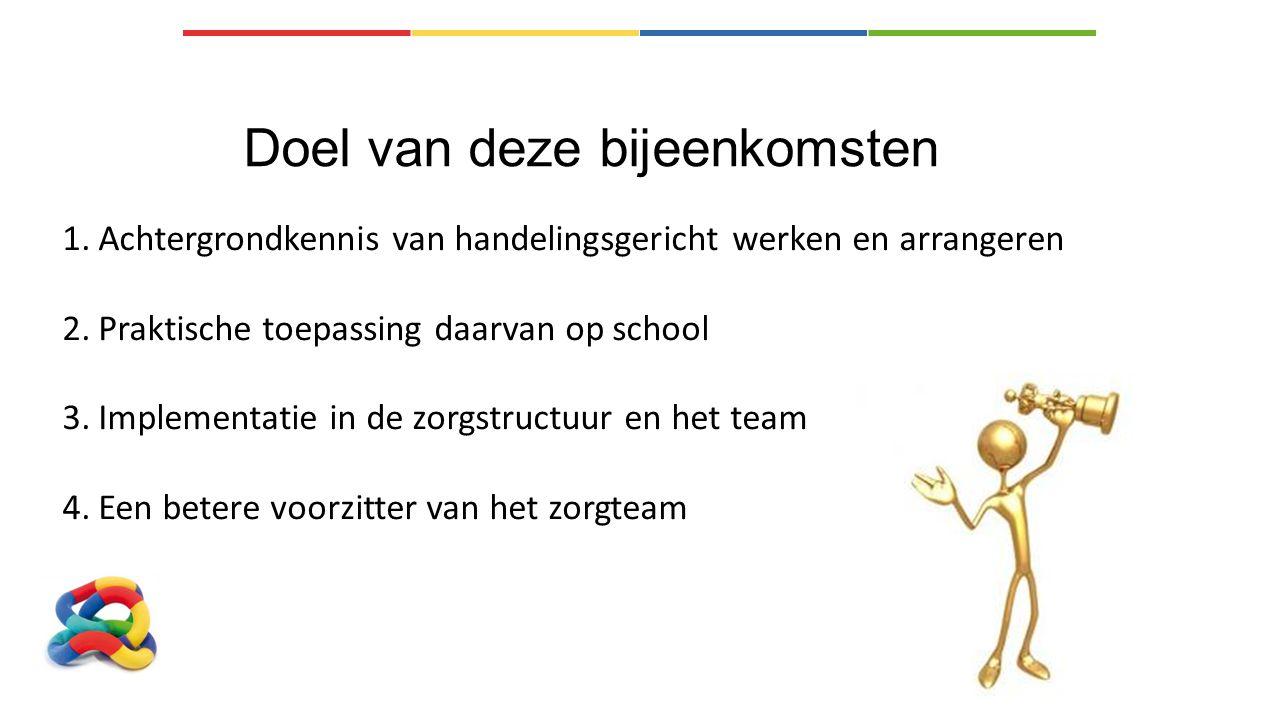 Doel van deze bijeenkomsten 1.Achtergrondkennis van handelingsgericht werken en arrangeren 2.Praktische toepassing daarvan op school 3.Implementatie i