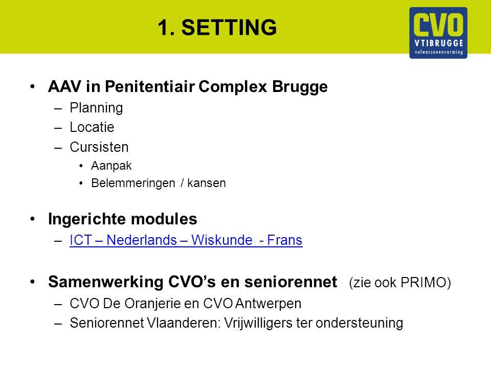 1. SETTING AAV in Penitentiair Complex Brugge –Planning –Locatie –Cursisten Aanpak Belemmeringen / kansen Ingerichte modules –ICT – Nederlands – Wisku