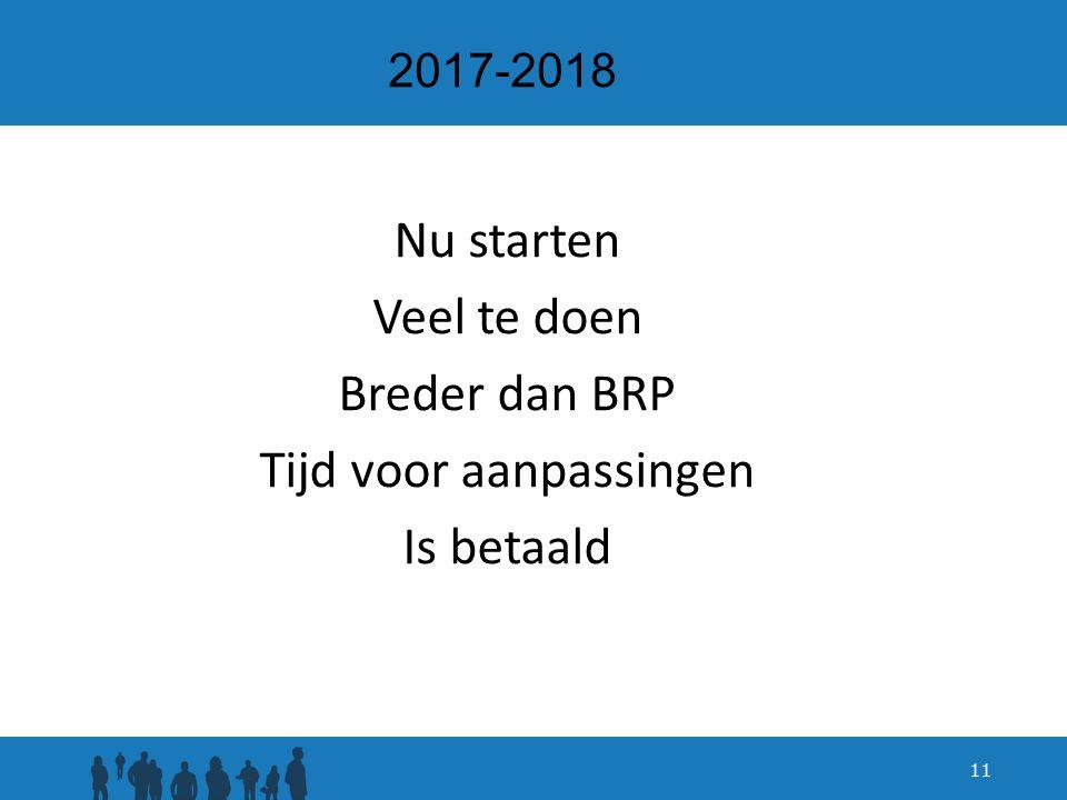 2017-2018 Nu starten Veel te doen Breder dan BRP Tijd voor aanpassingen Is betaald 11