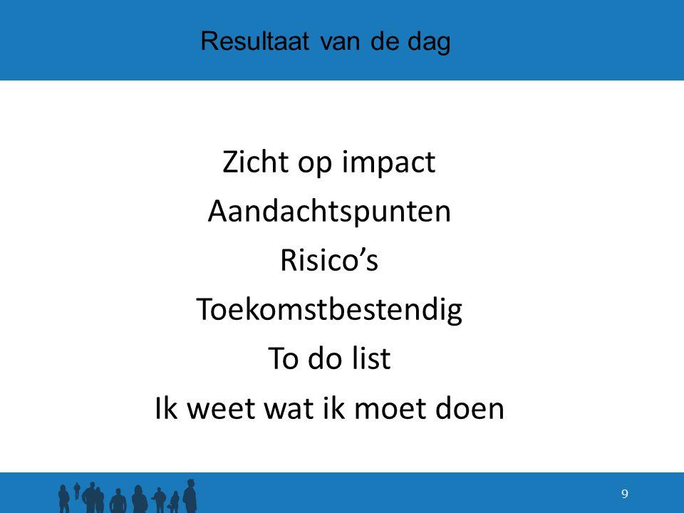 Resultaat van de dag Zicht op impact Aandachtspunten Risico's Toekomstbestendig To do list Ik weet wat ik moet doen 9