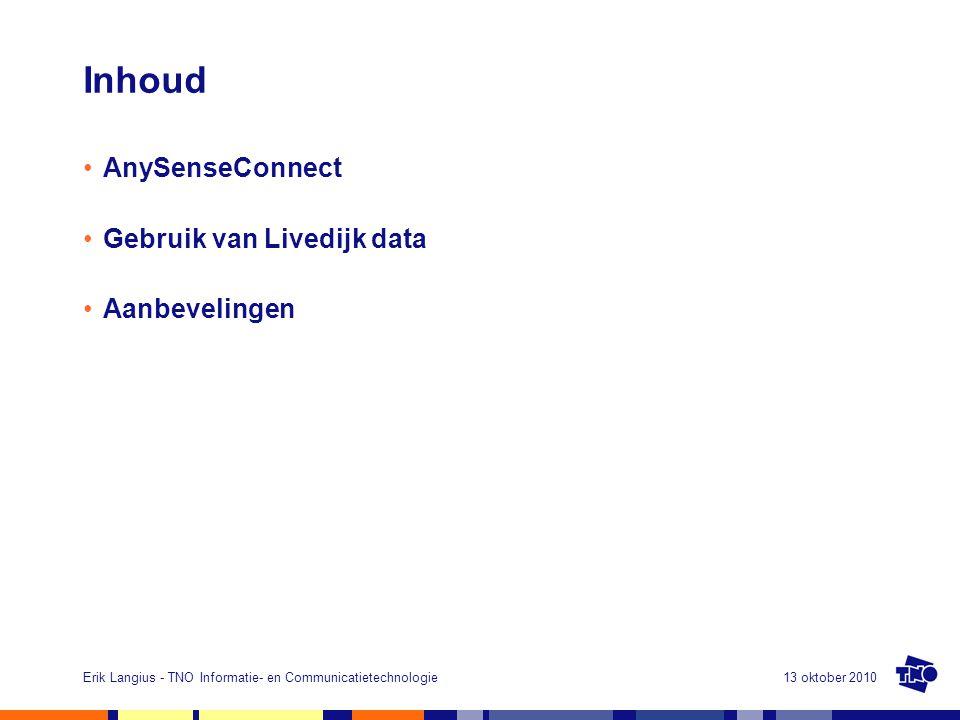 13 oktober 2010Erik Langius - TNO Informatie- en Communicatietechnologie Inhoud AnySenseConnect Gebruik van Livedijk data Aanbevelingen