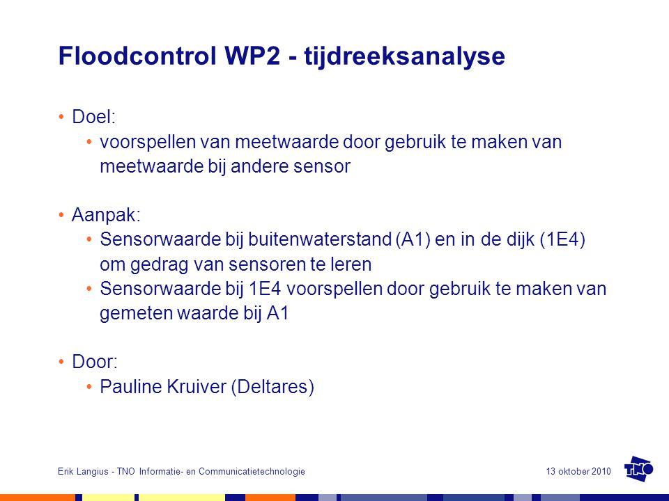 13 oktober 2010Erik Langius - TNO Informatie- en Communicatietechnologie Floodcontrol WP2 - tijdreeksanalyse Doel: voorspellen van meetwaarde door gebruik te maken van meetwaarde bij andere sensor Aanpak: Sensorwaarde bij buitenwaterstand (A1) en in de dijk (1E4) om gedrag van sensoren te leren Sensorwaarde bij 1E4 voorspellen door gebruik te maken van gemeten waarde bij A1 Door: Pauline Kruiver (Deltares)