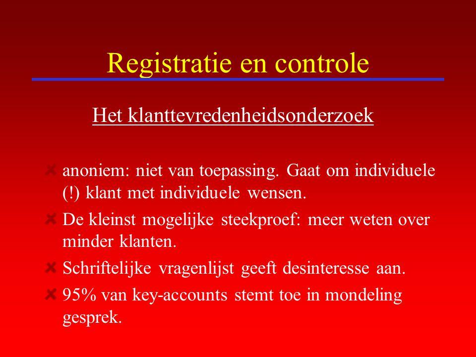 Registratie en controle Het klanttevredenheidsonderzoek anoniem: niet van toepassing. Gaat om individuele (!) klant met individuele wensen. De kleinst