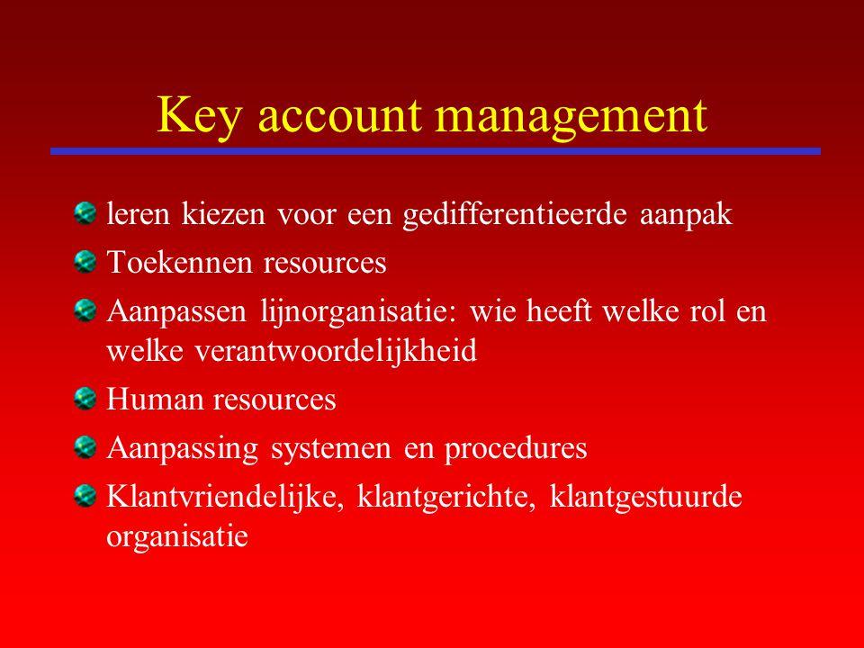Key account management leren kiezen voor een gedifferentieerde aanpak Toekennen resources Aanpassen lijnorganisatie: wie heeft welke rol en welke vera