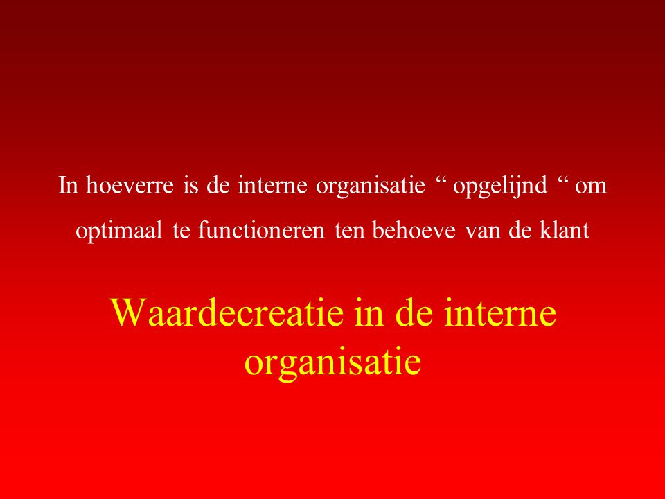 """In hoeverre is de interne organisatie """" opgelijnd """" om optimaal te functioneren ten behoeve van de klant Waardecreatie in de interne organisatie"""