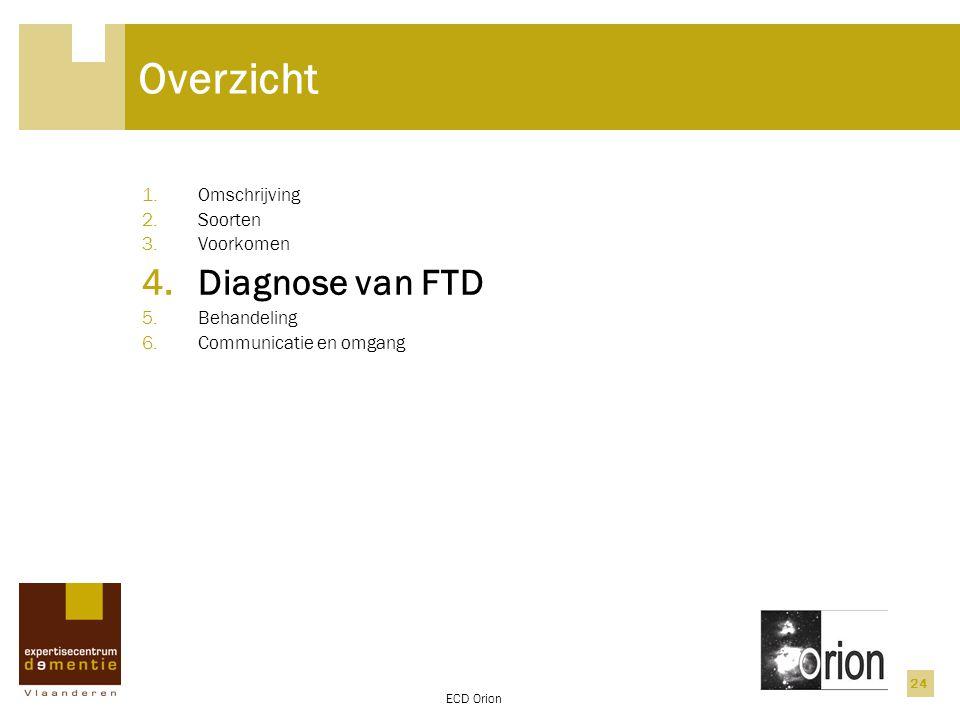 ECD Orion 24 Overzicht 1.Omschrijving 2.Soorten 3.Voorkomen 4.Diagnose van FTD 5.Behandeling 6.Communicatie en omgang