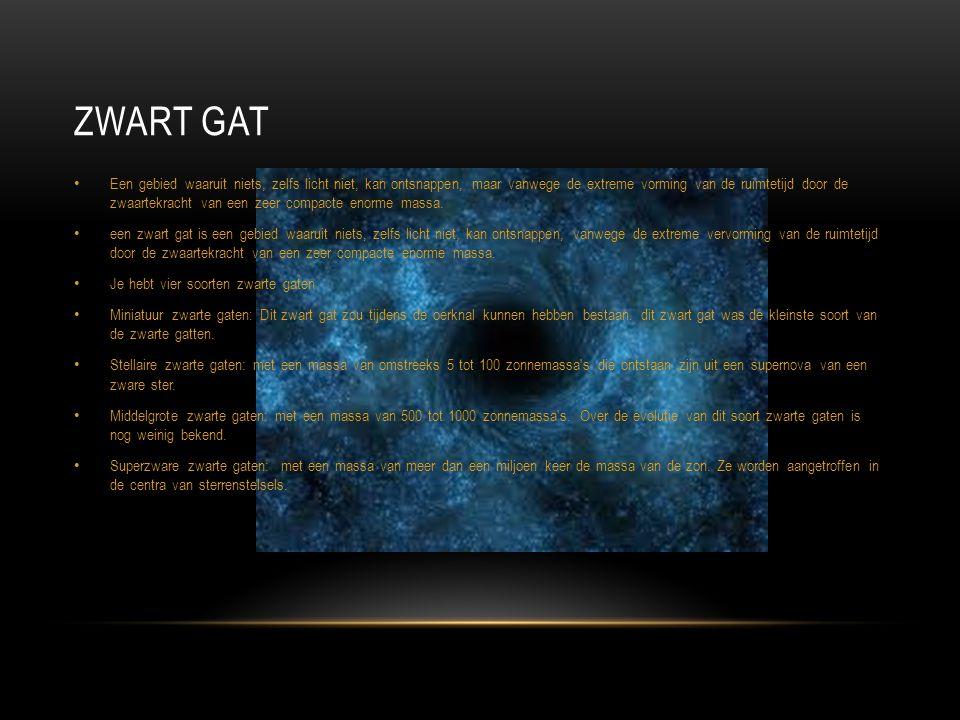 ZWART GAT Een gebied waaruit niets, zelfs licht niet, kan ontsnappen, maar vanwege de extreme vorming van de ruimtetijd door de zwaartekracht van een
