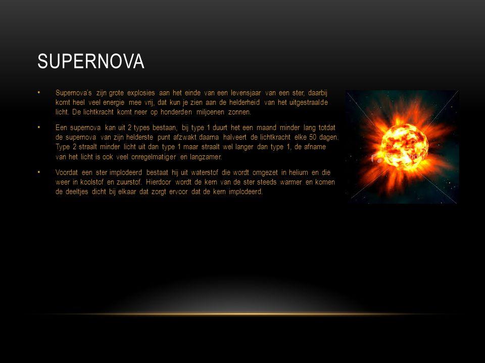 Supernova's zijn grote explosies aan het einde van een levensjaar van een ster, daarbij komt heel veel energie mee vrij, dat kun je zien aan de helder