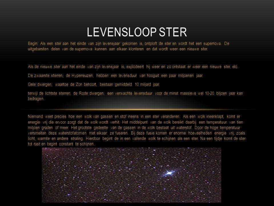 Begin: Als een ster aan het einde van zijn levensjaar gekomen is, ontploft de ster en wordt het een supernova. De uitgebarsten delen van de supernova