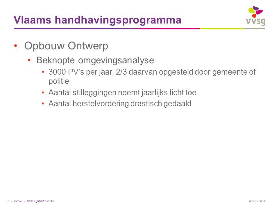 VVSG - Vlaams handhavingsprogramma Opbouw Ontwerp Beknopte omgevingsanalyse 3000 PV's per jaar, 2/3 daarvan opgesteld door gemeente of politie Aantal