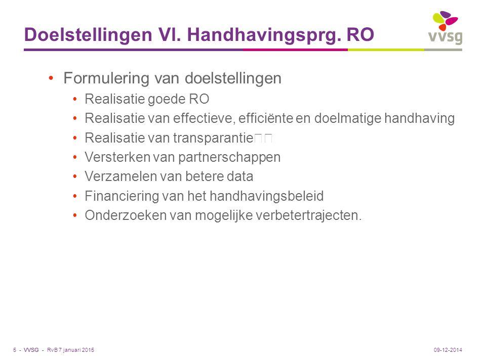 VVSG - Doelstellingen Vl. Handhavingsprg. RO Formulering van doelstellingen Realisatie goede RO Realisatie van effectieve, efficiënte en doelmatige ha