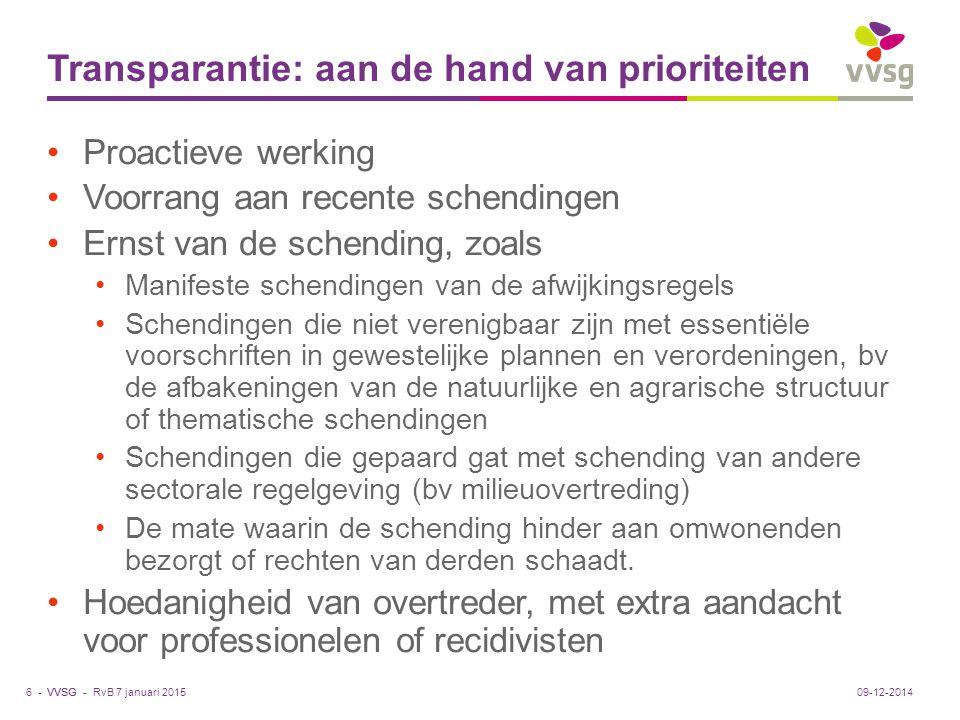 VVSG - Transparantie: aan de hand van prioriteiten Proactieve werking Voorrang aan recente schendingen Ernst van de schending, zoals Manifeste schendi