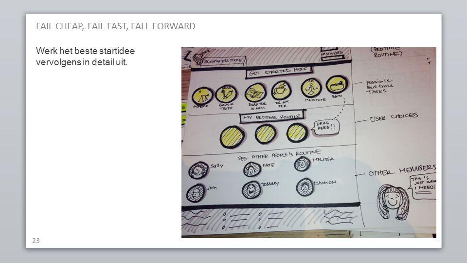 FAIL CHEAP, FAIL FAST, FALL FORWARD 23 Werk het beste startidee vervolgens in detail uit.
