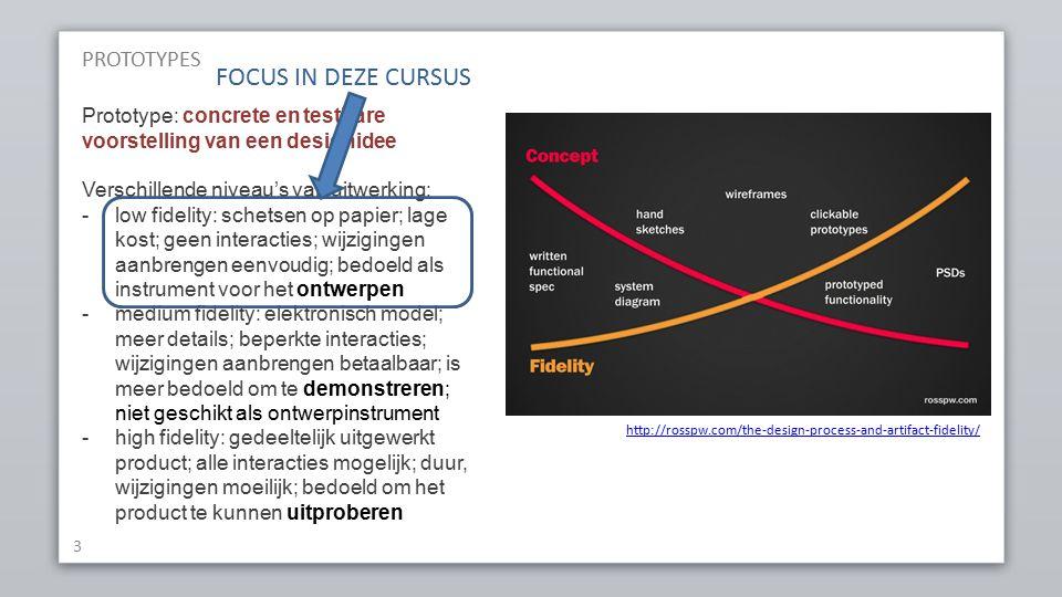 PROTOTYPES 3 Prototype: concrete en testbare voorstelling van een designidee Verschillende niveau's van uitwerking: -low fidelity: schetsen op papier; lage kost; geen interacties; wijzigingen aanbrengen eenvoudig; bedoeld als instrument voor het ontwerpen -medium fidelity: elektronisch model; meer details; beperkte interacties; wijzigingen aanbrengen betaalbaar; is meer bedoeld om te demonstreren; niet geschikt als ontwerpinstrument -high fidelity: gedeeltelijk uitgewerkt product; alle interacties mogelijk; duur, wijzigingen moeilijk; bedoeld om het product te kunnen uitproberen http://rosspw.com/the-design-process-and-artifact-fidelity/ FOCUS IN DEZE CURSUS