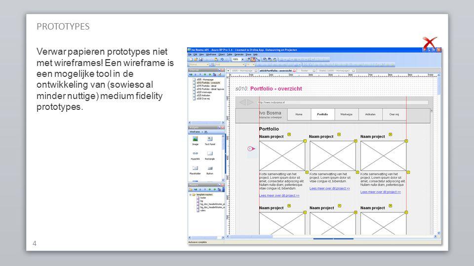 PROTOTYPES 4 Verwar papieren prototypes niet met wireframes.