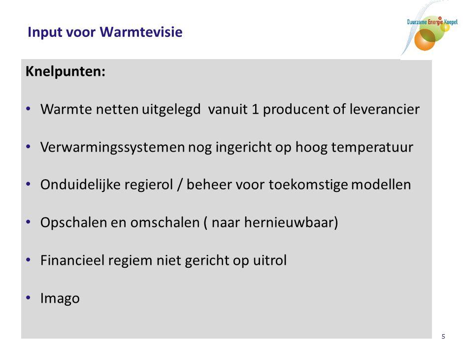 Contact voor input: Via: Warmtenetwerk of RVO (Bosselaar / Mossevelde) Duurzame Energie Koepel: Teun Bokhoven (teunbokhoven@cs.com)