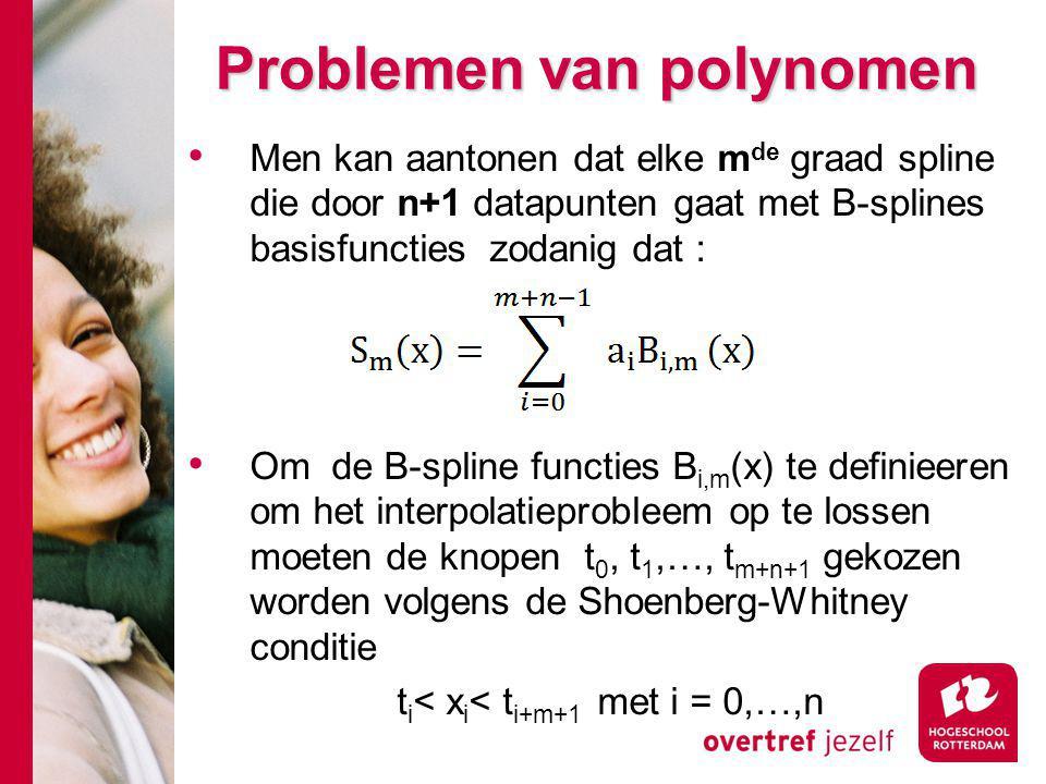 Problemen van polynomen Men kan aantonen dat elke m de graad spline die door n+1 datapunten gaat met B-splines basisfuncties zodanig dat : Om de B-spline functies B i,m (x) te definieeren om het interpolatieprobleem op te lossen moeten de knopen t 0, t 1,…, t m+n+1 gekozen worden volgens de Shoenberg-Whitney conditie t i < x i < t i+m+1 met i = 0,…,n